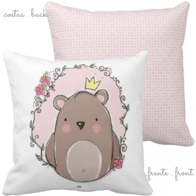 .little king bear pink. almofada