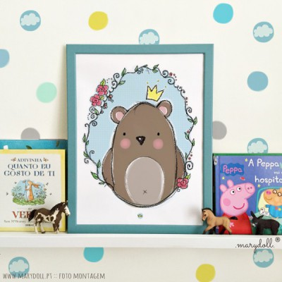 .little king bear blue. poster