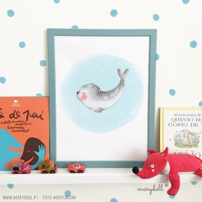 .little seal blue. poster