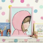 .little girl in dust pink. blond poster
