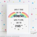 .rainbows and stars. poster