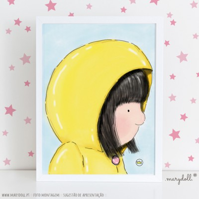 .little girl in yellow. poster