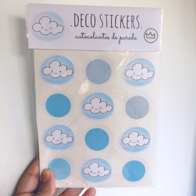 .happy clouds blue. stickers