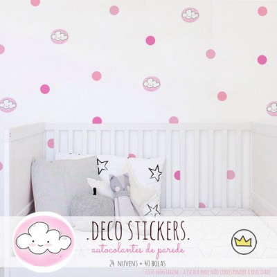 .happy clouds pink. stickers