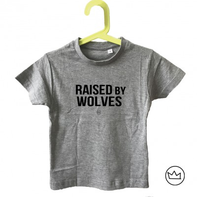 .raised by wolves. kids tshirt